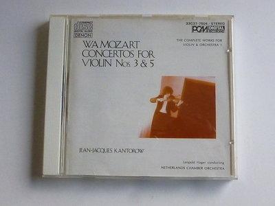 Mozart - Concertos no 3 & 5 / Jean-Jacques Kantorow (Japan)